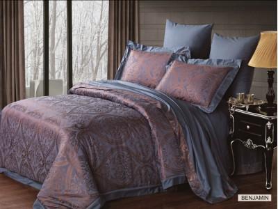Двуспальное евро постельное белье бамбук жаккард ARYA BENJAMIN, серия Majestic