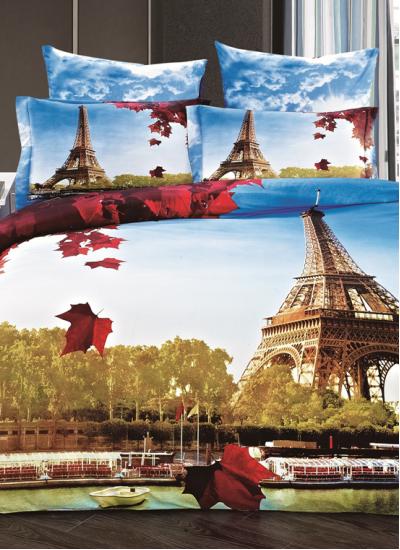 Двуспальное евро постельное белье Arya EIFFEL, серия 3D Exclusive