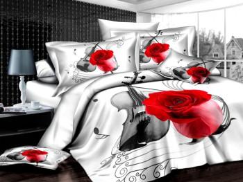 Двуспальное евро постельное белье ARYA VIOLIN WHITE, серия 3D