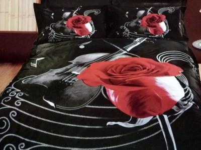 Двуспальное евро постельное белье ARYA VIOLIN BLACK, серия 3D