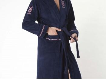 Халат мужской бамбуковый Nusa NS-2195 синий