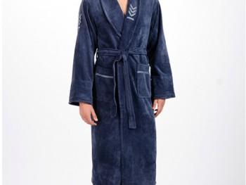 Халат мужской бамбуковый Nusa NS-2195 серо-синий