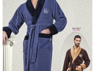 Халат мужской бамбуковый Nusa NS-1140-1серо-синий